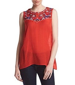 AGB® Embroidered Gauze Top