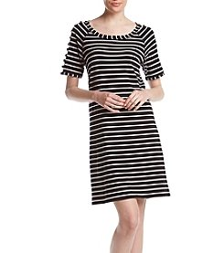 A. Moon Striped Strappy Sleeve Dress