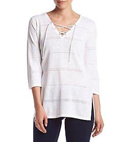 Jeanne Pierre® Lace Up Pattern Sweater