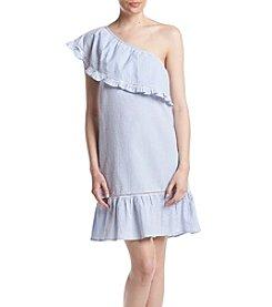 Cupio One Shoulder Striped Seersucker Dress