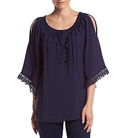 Melissa Paige Lace Trim Peasant Top