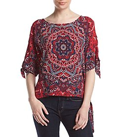 Melissa Paige Paisley Printed Cold Shoulder Top