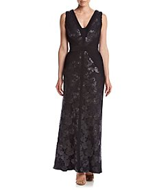 Calvin Klein Pleated Side Sequin Maxi Dress