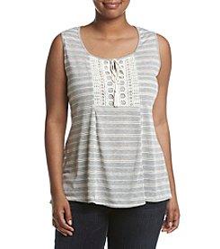 Oneworld® Plus Size Lace Up Stripe Knit Top