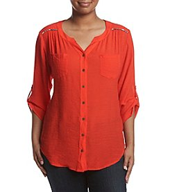 AGB® Plus Size 3/4 Sleeve Button Front Woven Top