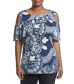 AGB® Plus Size Cold Shoulder Printed Knit Top