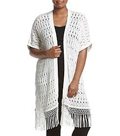 Jones New York® Plus Size Crochet Fringe Cardigan