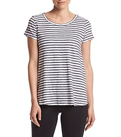 Calvin Klein Performance Stripe Criss Cross V Back Swing Tee