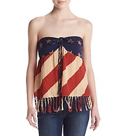 Hippie Laundry Flag Print Strapless Top