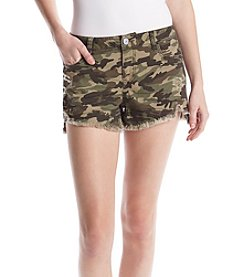 Hippie Laundry Fray Hem Camo Shorts
