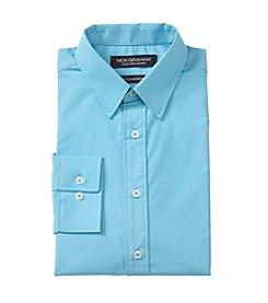 Nick Graham® Teal Pindot Print Dress Shirt