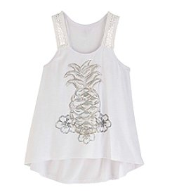 Miss Attitude Girls' 7-16 Hi-Low Pineapple Tank