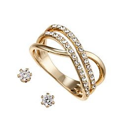 City x City Goldtone Double Ring and Earrings Set