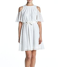 Calvin Klein Tie Waist Cold-Shoulder Dress