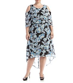 Relativity® Plus Size Floral Cold-Shoulder Dress