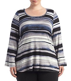 Cupio Plus Size Scoop Neck Bell Sleeve Top