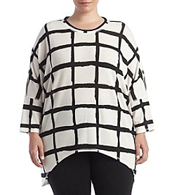Chelsea & Theodore® Plus Size Grid Print Scoop Neck Top
