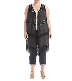 Oneworld® Plus Size Crochet Vest
