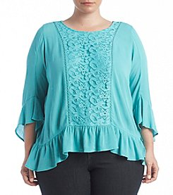 Oneworld® Plus Size Lace Front Gauze Top
