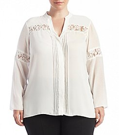 Jones New York® Plus Size Lace Inset Blouse