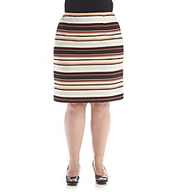 Nine West® Plus Size Stripe Crepe Skirt