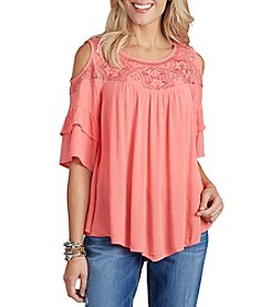 Democracy Flounce Sleeve Cold Shoulder Top