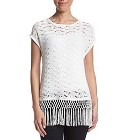 Jones New York® Crochet Tassel Trim Top