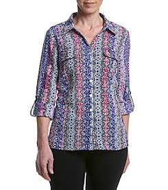 Studio Works® Petites' Roll Sleeve Print Blouse