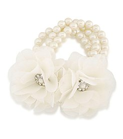 Carolee® Icing On The Cake Fabric Flower & Pearl Stretch Bracelet