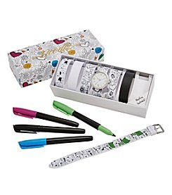 Doodlz Color On Watch Straps Watch Set With Markers - Whimsy