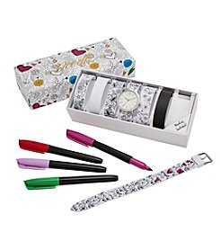 Doodlz Color On Watch Straps Watch Set With Markers - Floral