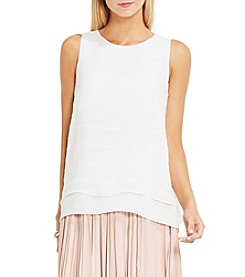 Vince Camuto® Sheer Embroidered Stripe Blouse