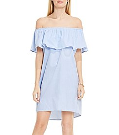 Vince Camuto® Ruffle Off Shoulder Yarn Dye Stripe Dress