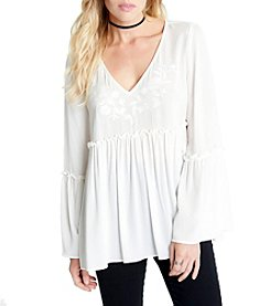 Karen Kane® Embroidered Bell Sleeve Blouse