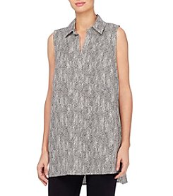 Joan Vass® Diamond Print Linen Tunic Top