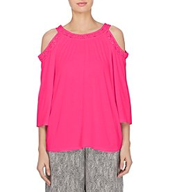 Joan Vass® Embroidered Cold Shoulder Top