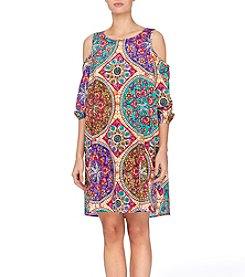 Joan Vass® Cold Shoulder Paisley Dress