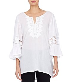 Joan Vass® Embroidered Voile Bell Sleeve Blouse