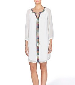 Joan Vass® Embroidered Tunic Dress