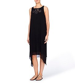 Joan Vass® Embroidered Neckline Midi Dress
