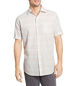 Van Heusen® Men's Big & Tall White Washed Windowpane Woven Button Down Shirt