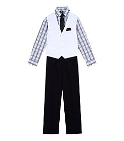 Steve Harvey Boys' 8-20 4-Piece Plaid Vest Set