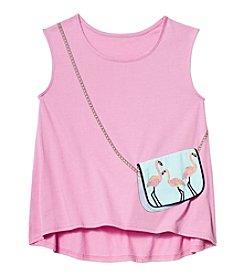 Jessica Simpson Girls' 7-16 Flamingo Purse Tank