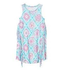 Jessica Simpson Girls' 7-16 Tie Dye Fringe Tank Top