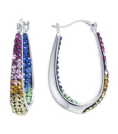 Athra Silver-Plated Rainbow Crystal Pave Hoops