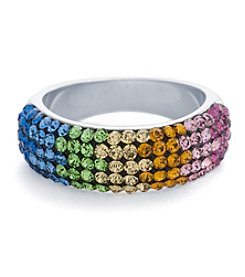 Athra Silver-Plated Rainbow Crystal Pave Ring