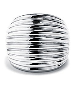Athra Silver-Plated Polished Ribbed Dome Ring
