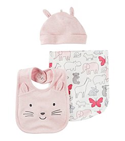 Carter's® Baby Girls' 3-Piece Hat & Bib Set