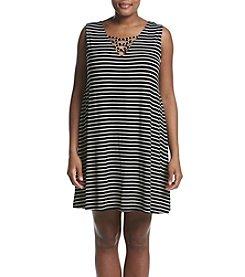 Living Doll® Plus Size Sleeveless Cross Lattice Stripe Swing Dress