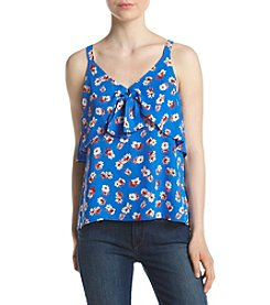 Eyeshadow® Tie Front Blue Floral Tank